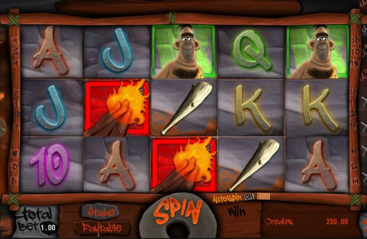 Caveman Stoney video slot machine screenshot