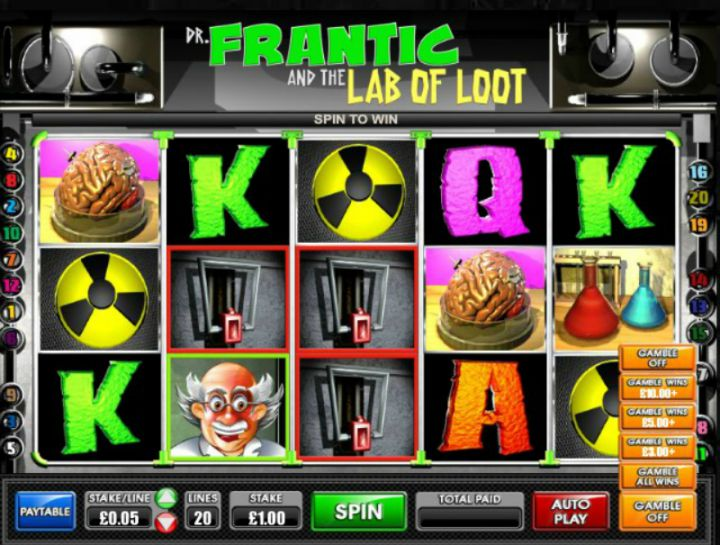 Dr Frantic And The Lab Of Loot video slot machine screenshot