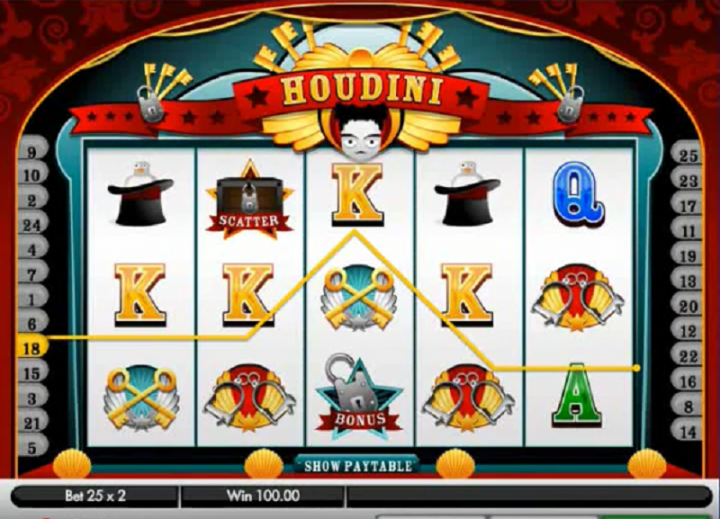 Houdini video slot machine screenshot