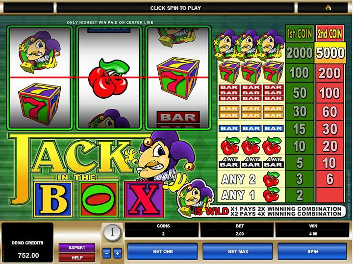 Jack in the Box video slot machine screenshot
