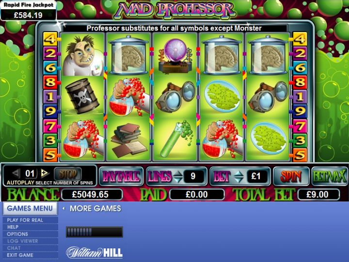 Mad Professor video slot machine screenshot