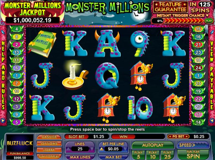 Monster Millions slot game screenshot