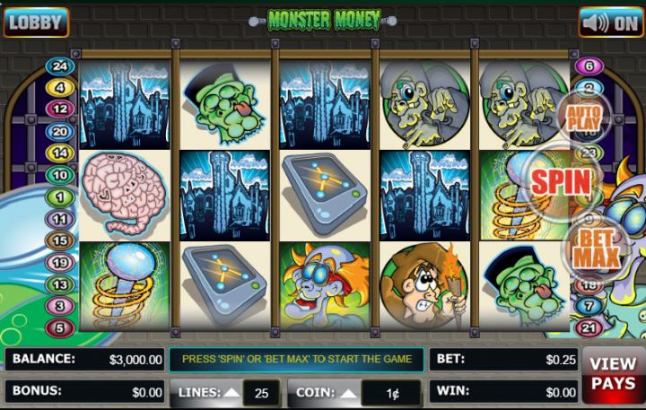 Monster Money video slot machine screenshot