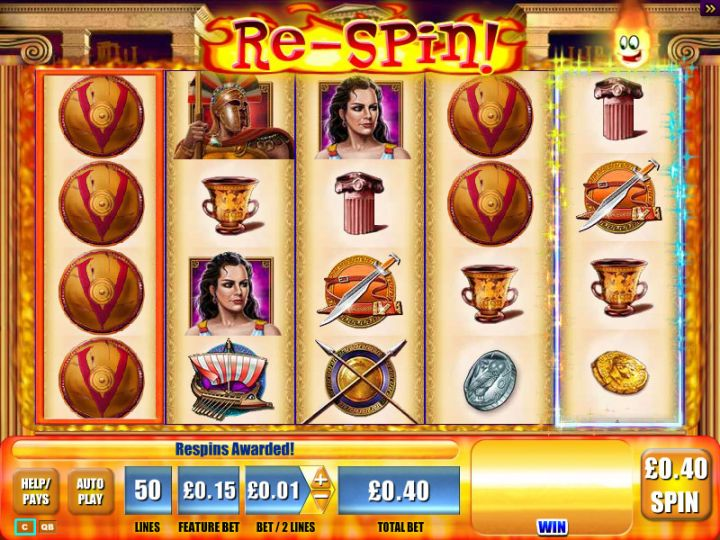 Plataea video slot machine screenshot