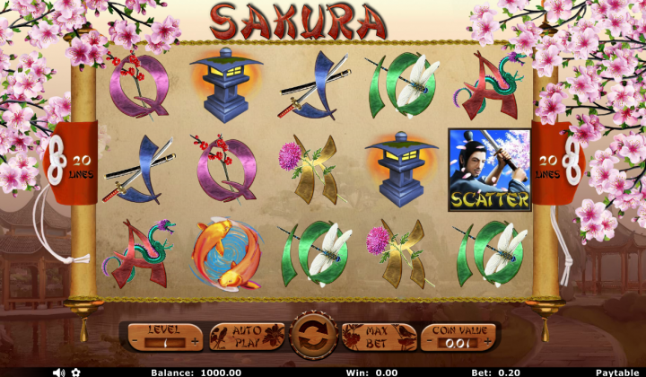 Sakura video slot machine screenshot