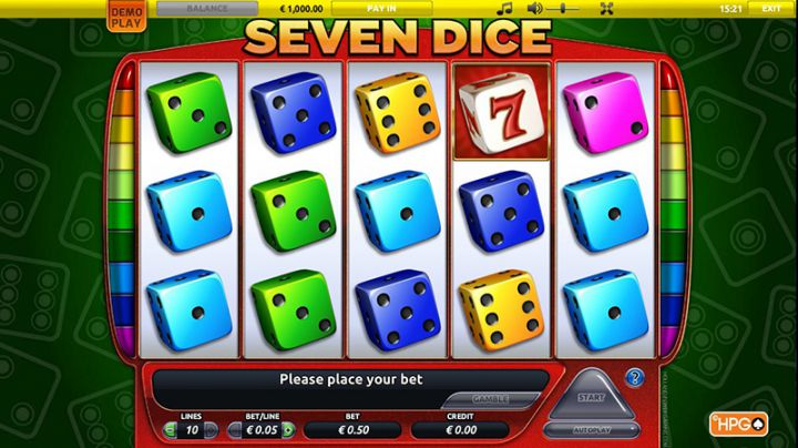 Seven Dice video slot machine screenshot