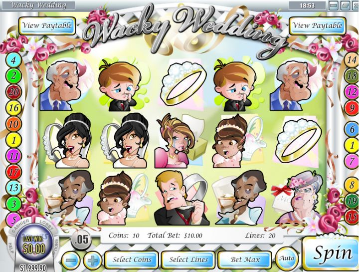 Wacky Wedding video slot game screenshot